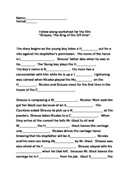 """The Movie: """"Strauss, the King Of 3/4 Time"""" follow along worksheet"""
