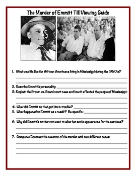 The Murder of Emmett Till Viewing Guide and Answer Key