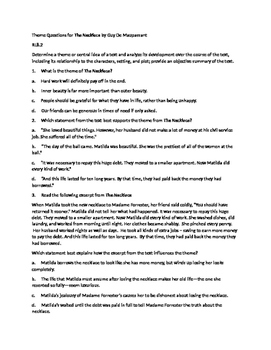 The Necklace Theme questions