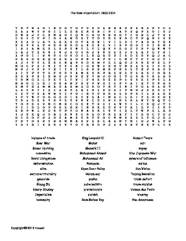 The New Imperialism:1800-1914 Vocabulary Word Search for W