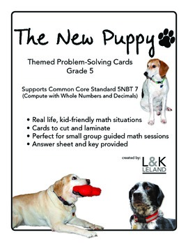 Themed Word Problem Cards  -THE NEW PUPPY - Grade 5/6