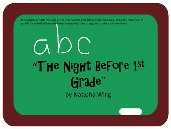 The Night Before First Grade Speech & Language Companion