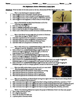 The Nightmare before Christmas Film (1993) 20-Question Mul