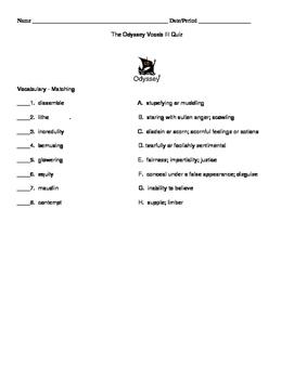 The Odyssey / Epic Unit Vocabulary Quiz