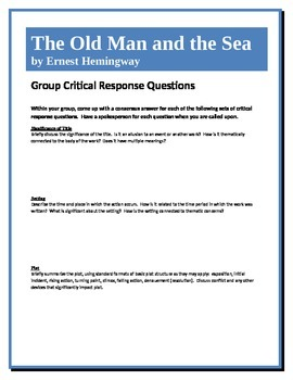 The Old Man and the Sea - Hemingway - Group Critical Respo