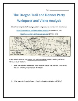 The Oregon Trail and Donner Party- Webquest and Video Anal