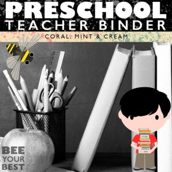 Preschool Teacher BEST BINDER in Coral, Mint & Cream