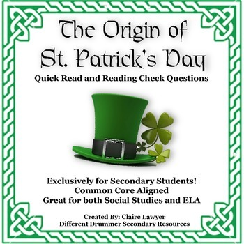 The Origin of St. Patrick's Day Informational Text and Rea