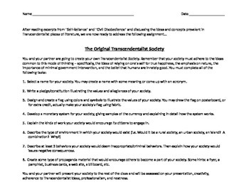 American Literature - Transcendentalism Unit Team Project