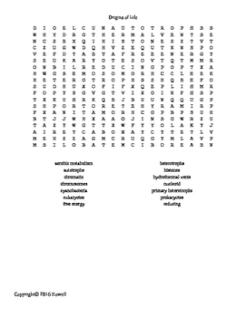 The Origins of Life Vocabulary Word Search for Zoology