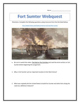 The Outbreak of the Civil War- Fort Sumter- Webquest and V