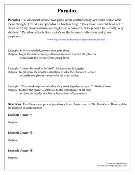 The Outsiders Ch 1-2 Paradox Practice (common core RL.8.4)