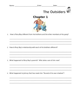 The Outsiders Reading Questions Packet