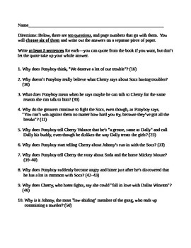 The Outsiders Short Answer Critical Thinking Quiz Chapters 1-4