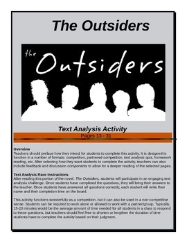 The Outsiders - Text Analysis Race - Pages 13-31 - Common