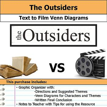 The Outsiders - Text to Film Venn Diagram & Written Conclusion