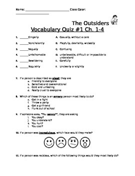The Outsiders Vocabulary Quizzes