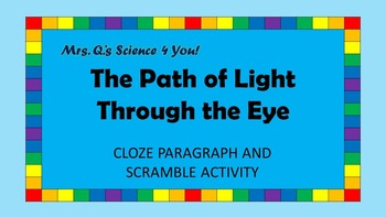 The Path of Light Through the Eye Cloze Paragraph