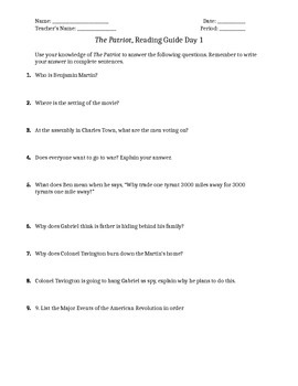 The Patriot - Guiding Movie Questions