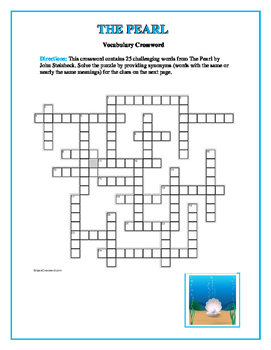 The Pearl: 25-word Vocabulary Crossword—Companion Product