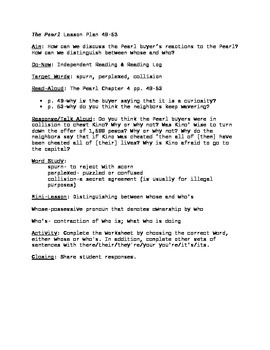 The Pearl Lesson Plan pgs. 49-53