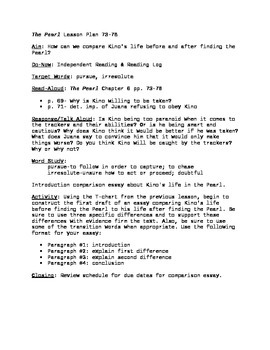 The Pearl Lesson Plan pgs. 73-78