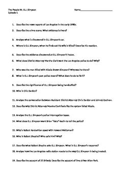 Worksheet for American Crime The People Vs. O.J. Simpson E