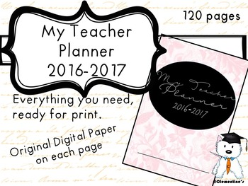 Teacher Planner 2016-2017  - Seasons Themed 130+ pages - B