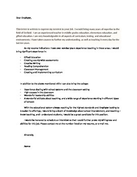 The Perfect Teaching Cover Letter Template- Just add your