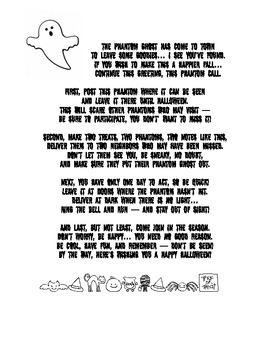 The Phantom Ghost has come to town printable poem and image