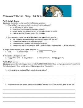 The Phantom Tollbooth Chapter Quizzes