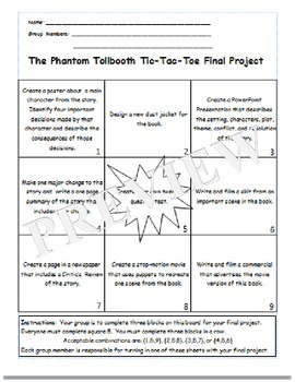 The Phantom Tollbooth Tic-Tac-Toe Board