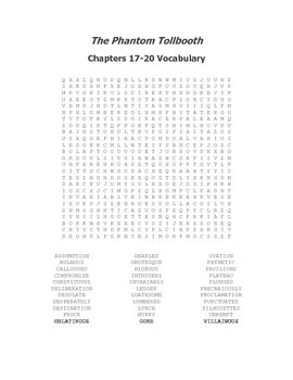 The Phantom Tollbooth Vocabulary Word Search for Chapters 17-20