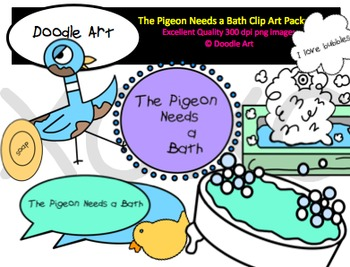 Pigeon Bathtime Clipart Pack
