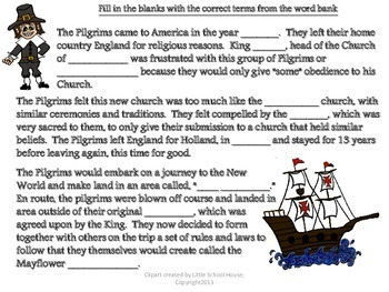The Pilgrims Cloze Note Activity