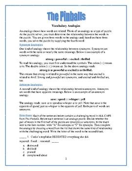 The Pinballs: 25 Vocabulary Analogies—Use with Bookmarks Plus!