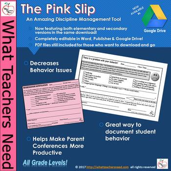 The Pink Slip (Editable Version!) - An Amazing Discipline
