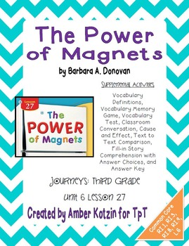 The Power of Magnets Activities 3rd Grade Journeys Unit 6,