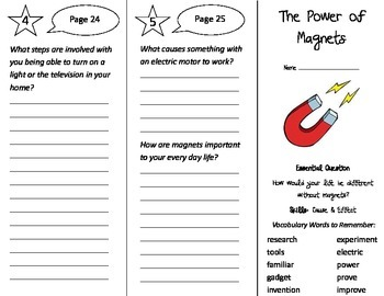 The Power of Magnets Trifold - Journeys 3rd Grade Unit 6 W