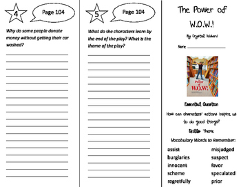 The Power of WOW Trifold - Journeys 4th Grade Unit 1 Week