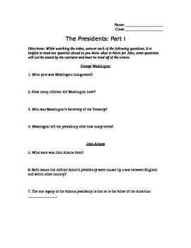 The Presidents Part 1 Video Guide: George Washington to Ja
