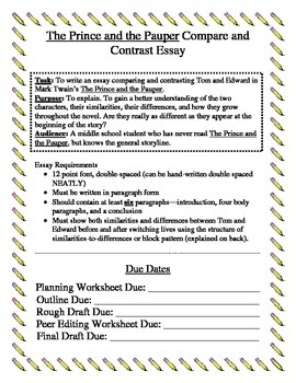 The Prince and the Pauper Compare and Contrast Essay Pack