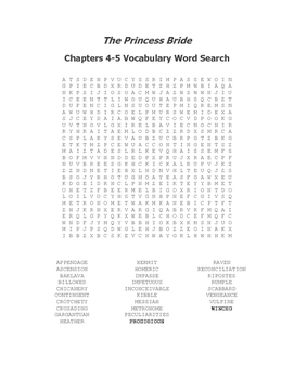 The Princess Bride Ch. 4-5 Vocabulary Word Search - Goldman