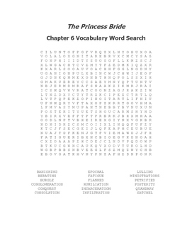 The Princess Bride Ch. 6 Vocabulary Word Search - Goldman