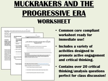 The Progressive Era and the Muckrakers worksheet - US Hist