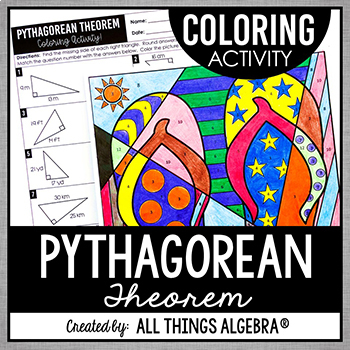 Pythagorean Theorem Coloring Activity by All Things Algebra | Teachers ...