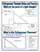 Right Triangles - The Pythagorean Theorem Notes and Practice