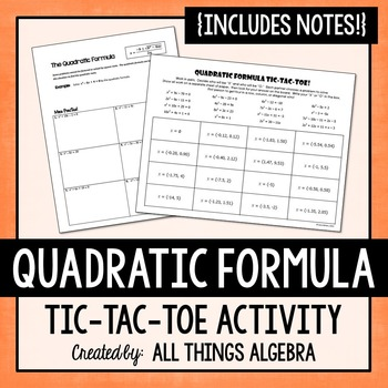 Quadratic Formula Notes and Partner Activity