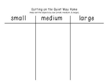 The Quiet Way Home - Sorting Activity