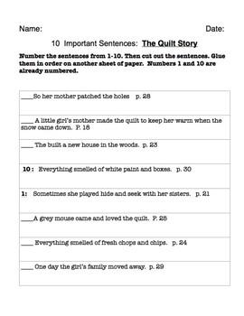 The Quilt Story - 10 Important Sentences